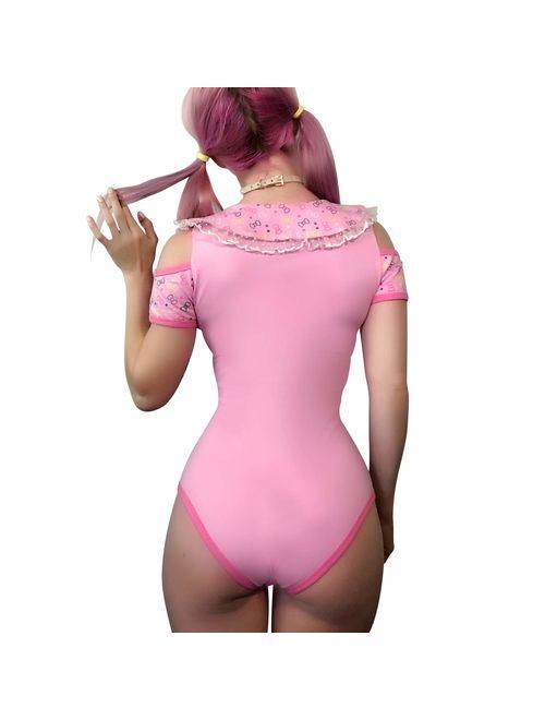 Littleforbig Adult Baby Diaper Lover (ABDL) Button Crotch Adult Baby Onesie Bodysuit - Hello Meow-Meow Onesie