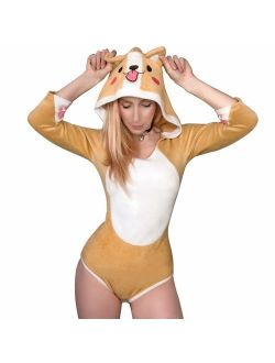 Adult Baby Diaper Lover (abdl) Button Crotch Adult Baby Onesie Bodysuit - Corgi Style
