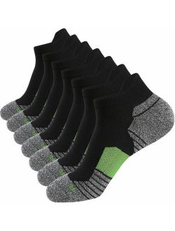Men's Athletic Running Socks 7 Pairs Thick Cushion Ankle Socks For Men Sport Low Cut Socks 6-9/10-12