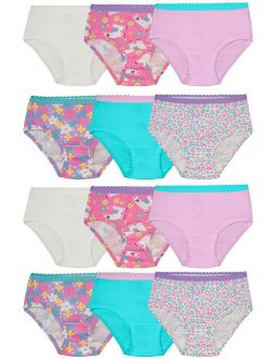 Fruit of the Loom Toddler Girl Underwear, 12 Pack Cotton Briefs