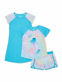 Wonder Nation Exclusive Girls 4-18 & Plus 3-Piece Spring Summer Graphic Pajama Short Set and Lightweight Nightgown