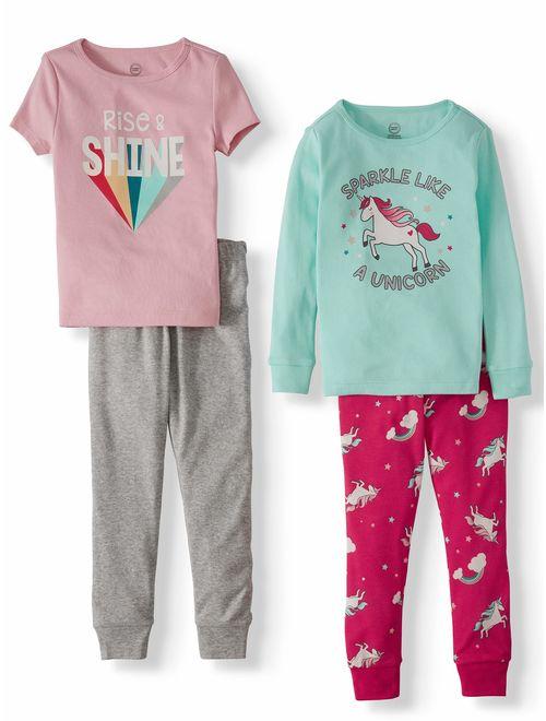 Wonder Nation Toddler Girl Short & Long Sleeve Snug Fit Cotton Pajamas, 4pc Set