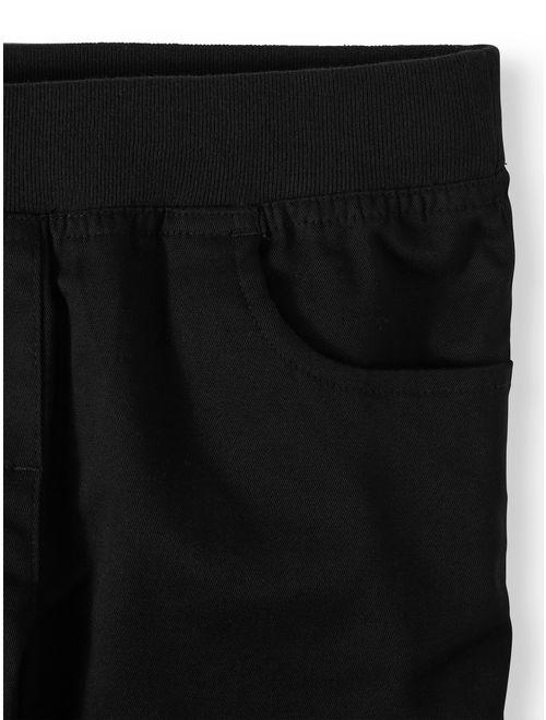 Wonder Nation Girls School Uniform Stretch Twill Pull-On Pants, 2-Pack Value Bundle (Little Girls & Big Girls)