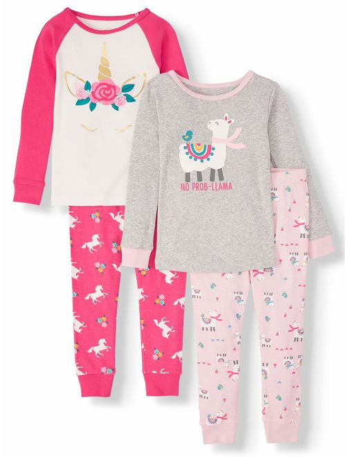 Wonder Nation Toddler Girl Long Sleeve Cotton Snug Fit Pajamas, 4Pc Set