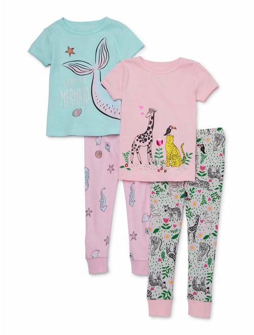Wonder Nation Toddler Girl Snug Fit Cotton Short Sleeve Pajamas, 4pc Set