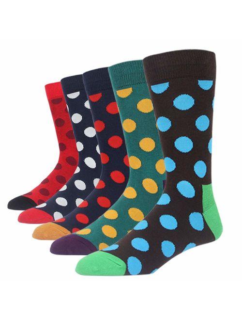 SOXART Men's Dress Socks 5-6 Pack Polka dot Argyle Stripes Assorted Color Bright Fun Cute Style