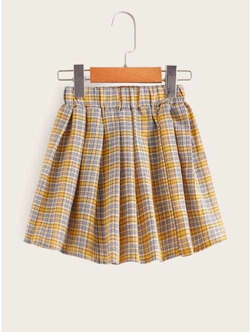 Toddler Girls Contrast Sleeve Sweatshirt & Plaid Print Flared Skirt