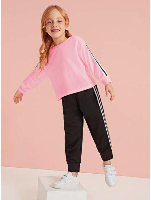 Toddler Girls Sweatshirt & Side Striped Sweatpants