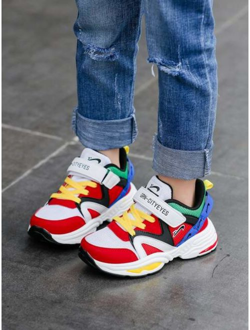 Girls Color Block Velcro Strap Chunky Sneakers