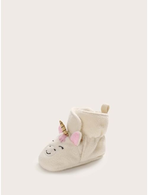 Baby Girl Cartoon Graphic Velcro Strap Boots