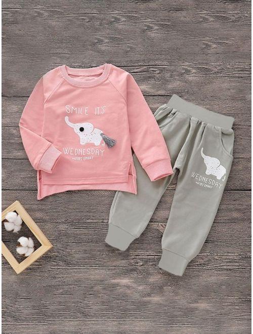 Toddler Girls Slogan Graphic Tasseled Sweatshirt With Pants