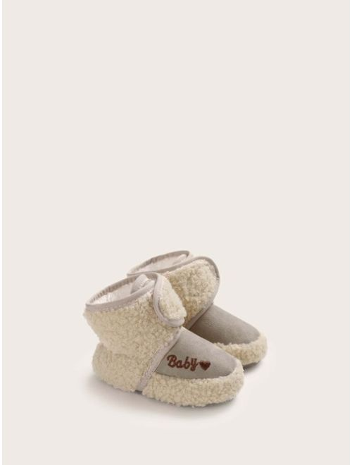 Baby Girl Embroidered Letter Velcro Strap Boots
