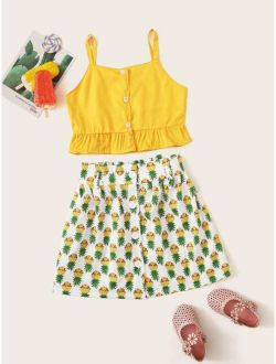 Toddler Girls Ruffle Hem Cami Top With Allover Pineapple Skirt