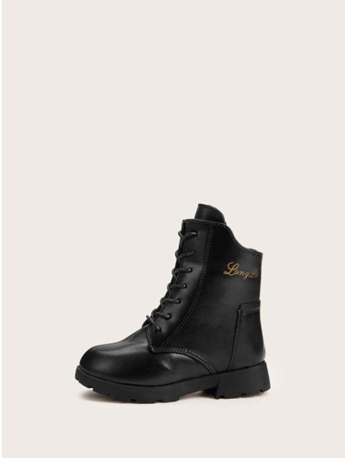 Girls Lace-up Front Combat Boots