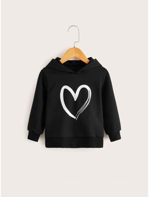 Toddler Girls Heart Print Hooded Sweatshirt