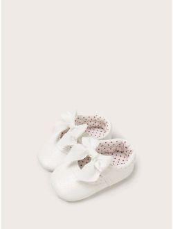Baby Girl Bow Decor Polka Dot Flats