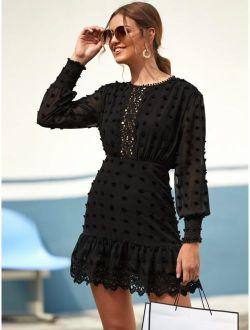 Swiss Dot Guipure Lace Hem Fitted Chiffon Dress