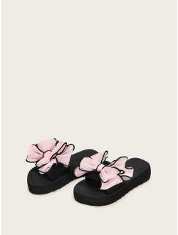 Toddler Girls Open Toe Bow Decor Sliders