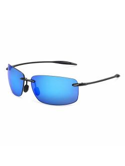 JULI Sports Sunglasses for Men Women Tr90 Rimless Frame for Running Fishing Golf Surf Driving Cycling Lifestyle 8008&8009