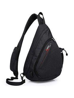 KAKA Sling Bag, Crossbody Backpack Canvas Waterproof Daypack Casual Shoulder Bag Traveling Hiking Camping for Men and Women