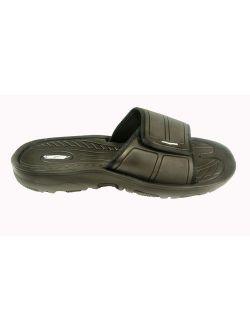 SLR Brands Mens Adjustable Sandals - Shower Flip Flops for Men | Nonslip Men's Slide On Sandals for Shower, Beach, Pool, Summer, Gym Slides | Arch Support for Athletes |