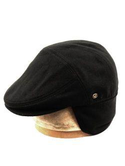 Epoch hats 100% Wool Herringbone Winter Ivy Cabbie Hat w/Fleece Earflaps - Driving Hat
