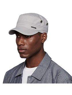 CACUSS Men's Cotton Army Cap Cadet Hat Military Flat Top Adjustable Baseball Cap