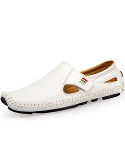 Ceyue Loafers for Men Driving Shoes Penny Loafers Casual Leather Stitched Slip On Shoes