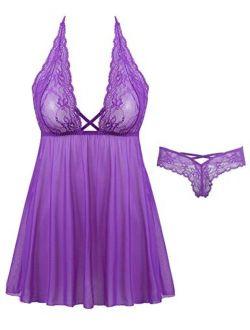 Joyaria Womens Sexy 2 Piece Lingerie Set Lace Babydoll Dress Mesh Nighty(Wine Red,Large)
