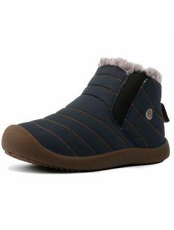 Men Women Slip On Waterproof Outdoor Anti-slip Fur Lined Ankle Snow Boots