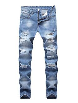 Enrica Men's Ripped Distressed Destroyed Straight Fit Washed Denim Jeans