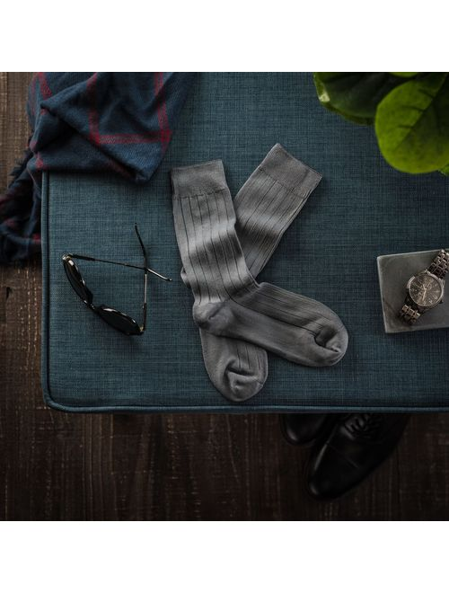 Silky Toes Modal Men's Dress Crew Socks, Solid and Designed Super Soft Socks Multi Pack