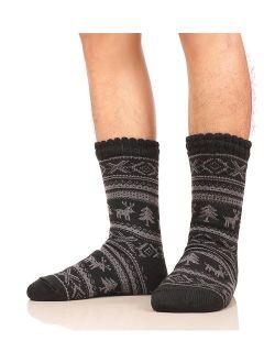 Dosoni Mens Slipper Socks Fuzzy Warm Fleece Lined Thick Heavy Christmas Deer Winter Socks With Grippers- Gift Idea