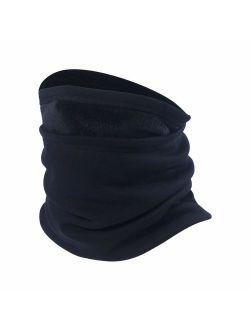 Neck Gaiter Warmer Windproof Mask Fleece - Free UV Face Mask Black