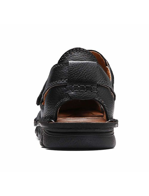UPIShi Mens Casual Closed Toe Leather Sandals Outdoor Fisherman Adjustable Summer Shoes