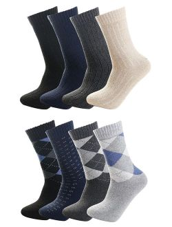 Luxina 8 Pairs Warm Thick Wool Knitting Autumn Winter Socks for Men