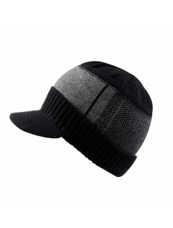 XIAOHAWANG Winter Men Hat Knit Cable Visor Beanie with Fleece Lining Patchwork Stripe Newsboy Cap with Brim for Outdoor Sport