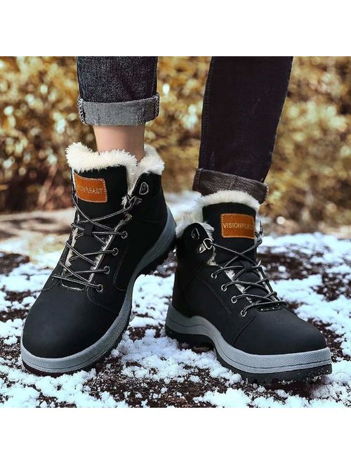 Mens Warm Insulated Waterproof Hiking Winter Snow Boots Outdoor Slip Resistant