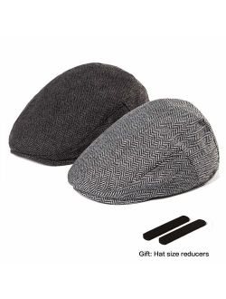 LADYBRO 2 Pack Newsboy Hats for Men Wool Scally Cap Mens Flat Cabbie Ivy Tweed S/M/L/XL