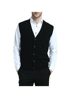 Kallspin Men's Cashmere Blended Sweater Vest Relaxed Fit V-Neck Sleeveless Cardigan with Front Button