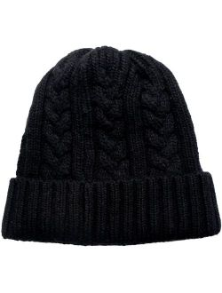 Dahlia Men's Cable Knit/Slouchy Style/Dual-Layer Beanie, Soft & Warm Hat