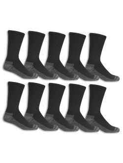 Men's Cotton Work Gear Crew Socks   Cushioned, Wicking, Durable   10 Pack