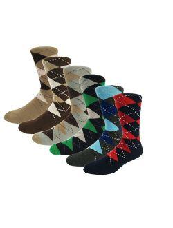 Men's Argyle Colorful Dress Funny Crazy Art Patterned Cotton Socks for Gifts