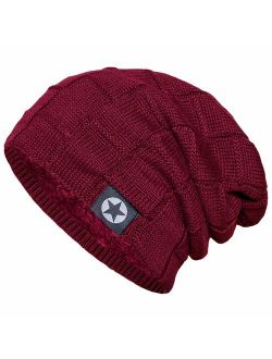 Slouchy Winter Beanie Hats for Guys Men & Women Knit Soft Thick Warm Fleece Lined Skull Caps