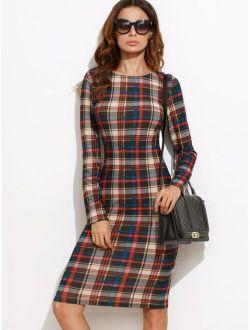 Plaid Midi Pencil Dress