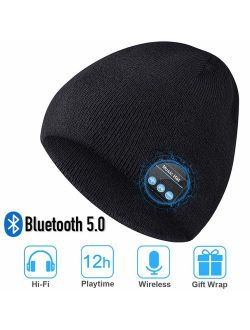Bluetooth Beanie Hat, Upgraded Unisex Knit Bluetooth 5.0 Winter Music Hat with Built-in Stereo Speakers, Unique Christmas Tech Gag Gifts for Boyfriend/Him/Men/Teen Boys/S
