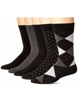 KM Legend Men's Dress Socks, Assorted 5 Pair Pack