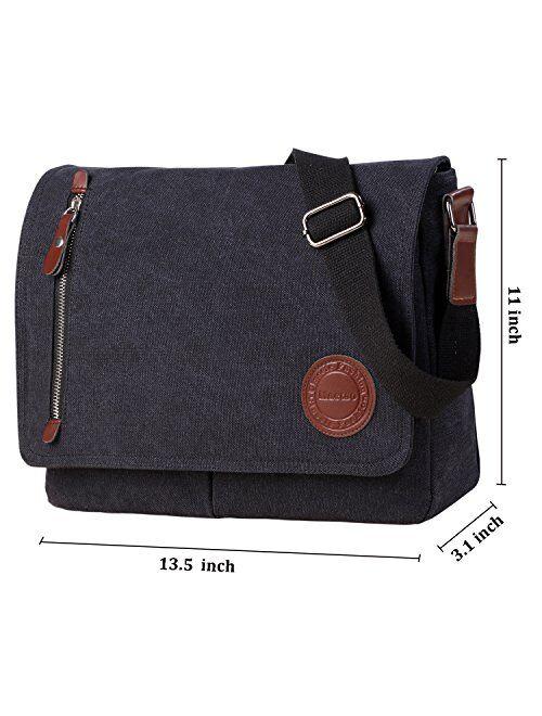"""Vintage Canvas Satchel Messenger Bag for Men Women,Travel Shoulder Bag 13.5"""" Laptop Bags Bookbag"""