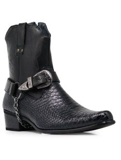 Alberto Fellini Men's Crocodile Prints Western Cowboy Boots with Side Zipper, Belt Buckle and Metal Chain