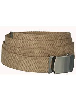 Khaki One Size Canvas Military Web Belt with Silver Slider Buckle